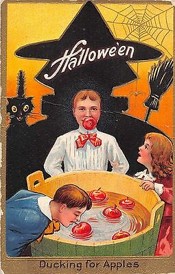 1909 Witch Black Cat Children Ducking for Apples Halloween post card