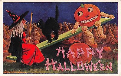 1909 sgd. Wall Halloween post card Witch on Teeter Totter Black Cat JackOLantern