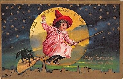1909 Girl With Black Cat on Broom & Full Moon Jolly Halloween post card