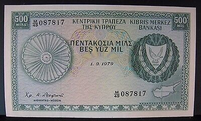 1964-1966 CYPRUS, Central Bank of, 1.9.1979 500 MILS CU ** FREE U.S SHIPPING **