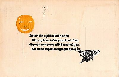 1913 Embossed Jack O'Lantern & Fairy Halloween post card