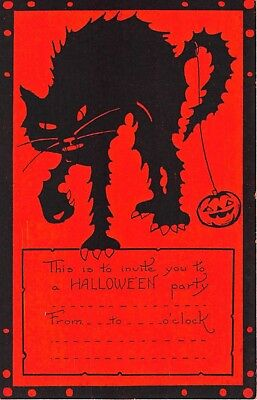 1920's? Black Cat & Jack O'Lantern Halloween Party Invitation post card Whitney