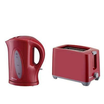 1.7L Electric Cordless Kettle and Two Slice Wide Slot Toaster Plastic Set Red