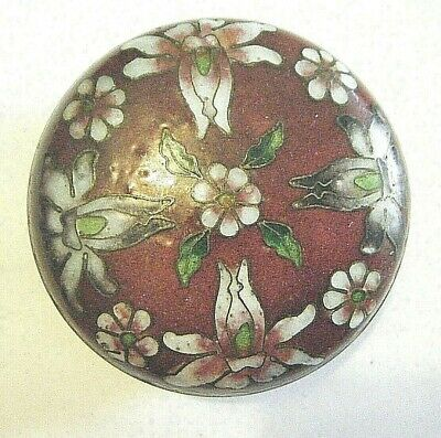 """Antique 1950s Chinese Cloisonne Enamels on Brass 2"""" Round Spice Box With Orchids"""