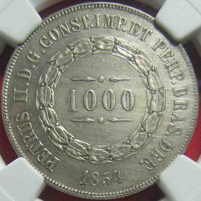 1854 Brazil 1000 Reis Silver Ngc Au Details Harshly Cleaned Low Mint World Coin