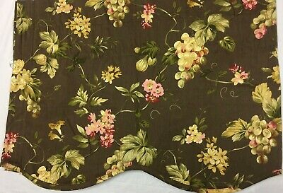 1 Pair WAVERLY Valance French Country Grape Pink Floral Brown Rod Pocket 18x48
