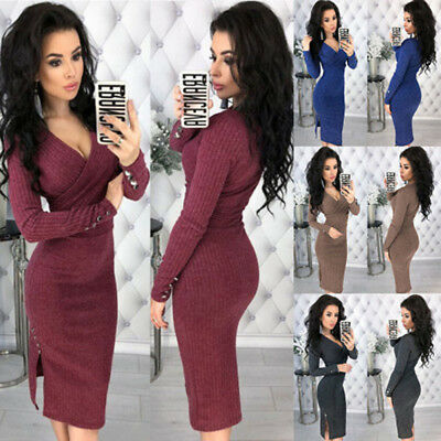 Women Winter Wrap V-neck Ribbed Knit Ladies Long Sleeve Bodycon Midi Dress 6-16