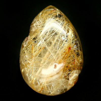 7.12 CT NATURAL COLORLESS WITH GOLDEN RUTILE AFRICA QUARTZ PEAR CABOCHON 10X15mm