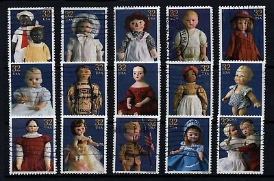 USA, Scott # 3151, COMPLETE USED SET OF 15 SINGLES - AMERICAN DOLLS, OFF-PAPER