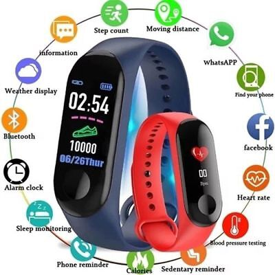 M3 Bluetooth Smart Watch Heart Rate & Blood Pressure Monitor Fitness Tracker UK