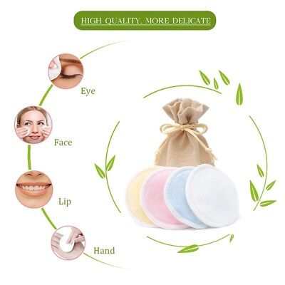 4/8psc Reusable Makeup Remover Bamboo Organic Cotton Pads- Laundry Bag Included