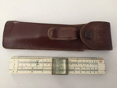 Frederick Post 1441  Slide Rule 4 Inch With Leather Pouch