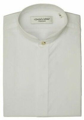 David Latimer Mens Mandarin Collar Dress Shirt in White