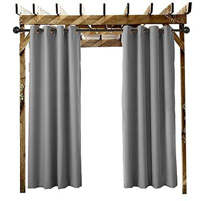 Outdoor Curtain Grey 100 Inch W x 96 Inch L Grommet Eyelet in Front