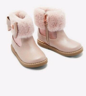 ded8fe191 TED BAKER GIRLS Faux Fur Pink Bow Cuff Boots Size 9 - £31.00 ...
