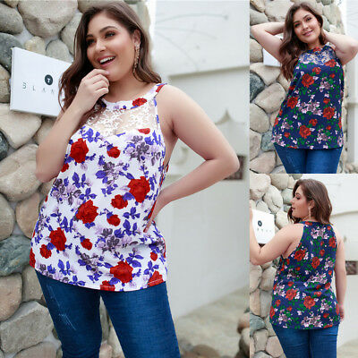 Women Floral Sleeveless Sexy Lace Vest Blouse Casual Tank Tops T-shirt Plus Size