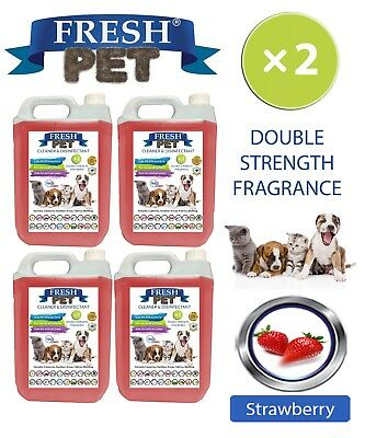Fresh Pet Perrera Perro Desinfectante Doble Fuerza Fragancia 4x5L Fresa