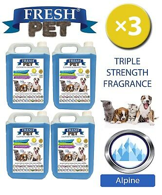 Fresh Pet Perrera Perro Desinfectante Triple Fuerza Fragancia 4x5L Alpine