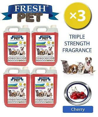 Fresh Pet Perrera Perro Desinfectante Triple Fuerza Fragancia 4x5L Cereza