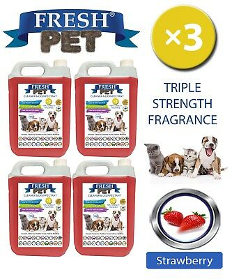 Fresh Pet Perrera Perro Desinfectante Triple Fuerza Fragancia 4x5L Fresa