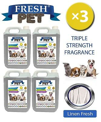 Fresh Pet Perrera Perro Desinfectante Triple Fuerza Fragancia 4x5L Lino Fresco