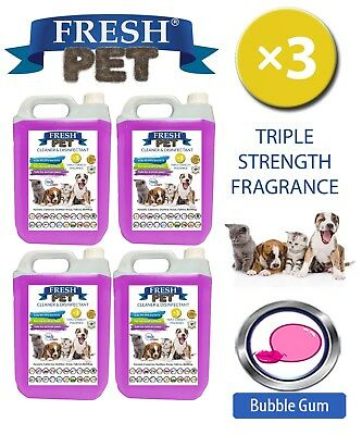 Fresh Pet Perrera Perro Desinfectante Triple Fuerza Fragancia 4x5L Chicle