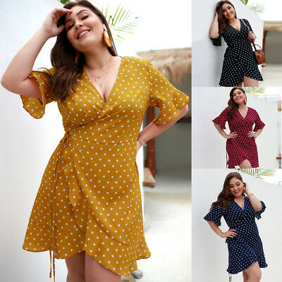 Women's Short Sleeve Polka Dots Party Mini Dress Beach Bandage Ruffles Plus Size