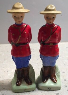 Antique Canadian Mounties Figural Salt & Pepper Shakers - Japan