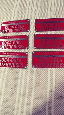 Coca cola #numbered Metal Tags  excellent shape property of coca cola enterprise