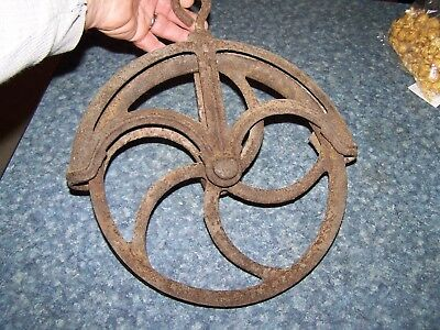 Antique cast iron well pully