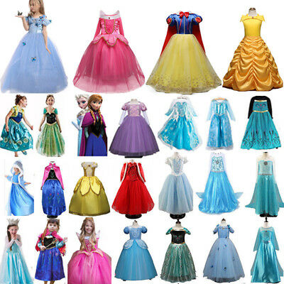 Kid Girls Fairy Fancy Dress Cosplay Disney Princess Party Prom Gown Costume Gift