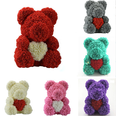 "15"" Teddy Rose Bear Heart Foam Flower Bear Toys Valentine's Day Wedding Gift Hot"