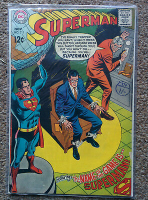 """Superman #211 (DC Comics) """"The Name Of The Game Is Superman"""" dated 1968"""