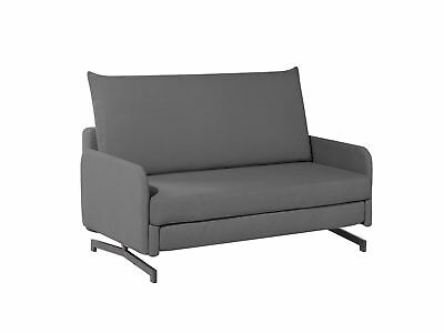 Modern Pull Out Fabric Sofa Bed Grey Polyester Reclining Stainless Steel Belfast