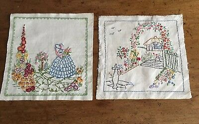 Two Vintage Hand Embroidered Squares
