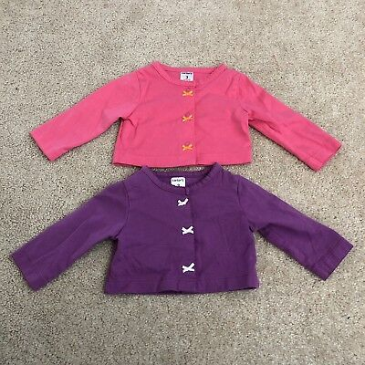 Lot Of 2 Carters Infant Girls 3M Pink/purple Cropped Cardigan Tops Mint Cond