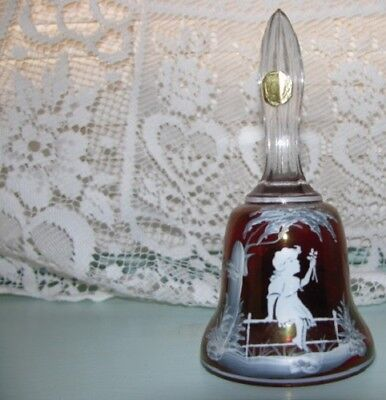 Westmoreland Rudy Red  Crystal Bell W Clear Glass Pendulum Nwt Mary Gregory