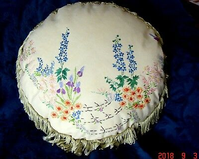 Vintage Hand Embroidered Floral Round Complete Cushion ~ Emb Both Sides  ~ VGC