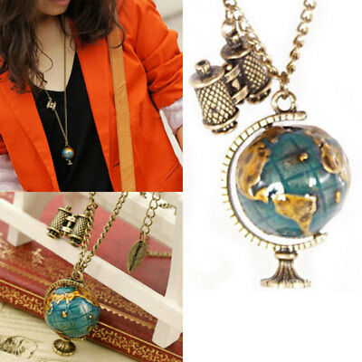 Globe Telescope Celebrity Bronze Long Chain Pendant Necklace Jewelry Chain gift
