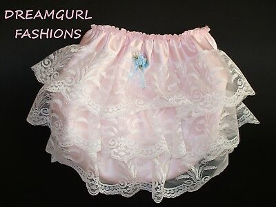 Unisex Satin Laced Bum Knickers Tv Sissy Lolita Cosplay