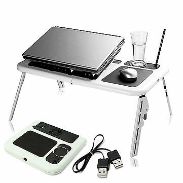 Portable & Adjustable Folding Laptop Table E-Table With Cooling Fans Stand *