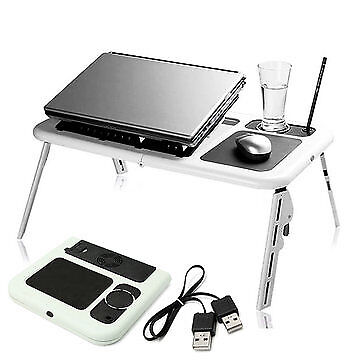 Portable & Adjustable Folding Laptop Table E-Table With Cooling Fans Stand .