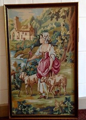 Antique Victorian Hand Made Woolwork Tapestry In A Modern Frame, Glazed. Vgc.