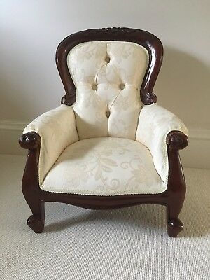 Small Low Upholstered Vintage Wooden  Chair