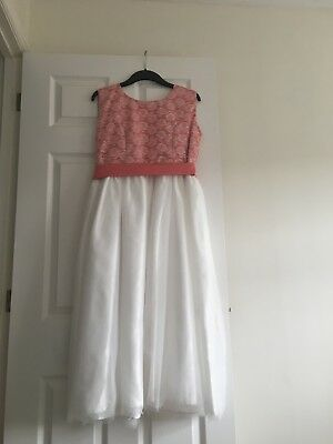 Girls bridesmaid dress ivory and coral age 12-13 years