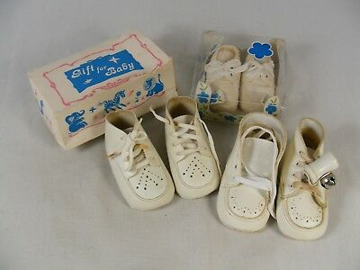 Vintage Lot of 3 Pair of Baby Shoes