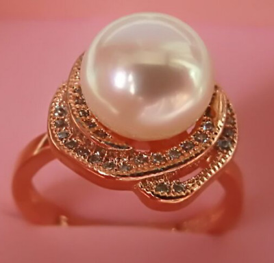 Top 8-9 mm  natural South Sea White Pearl Ring rose gold