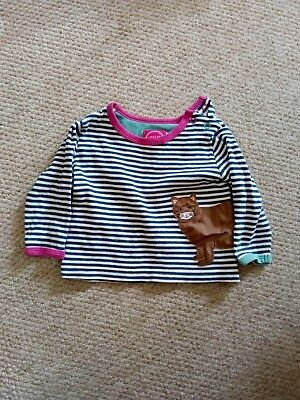 Joules Navy Striped Cat Top T-Shirt Baby 6-9 Months