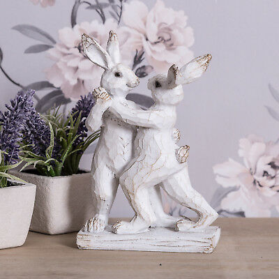Dancing Bunny Rabbits Decoration Ornament Vintage Style Figurine Cute Decor Home