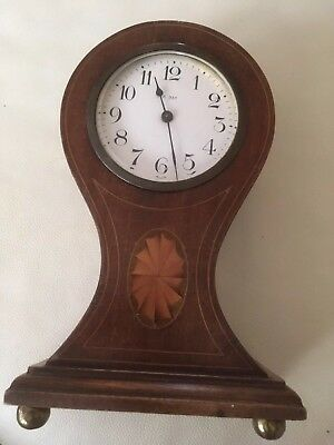 Edwardian Balloon Mantle Clock in Wooden Inlaid Case 8 Day Hand wind Movement